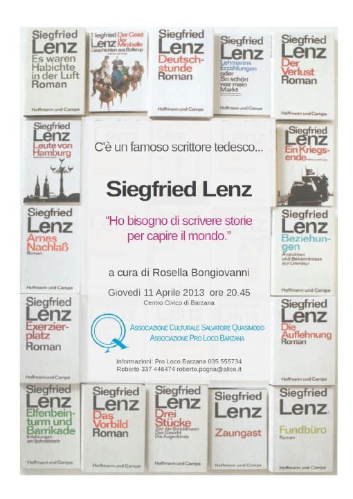 leggiamo ... Siegfried Lenz - Giovedì 11 aprile 2013
